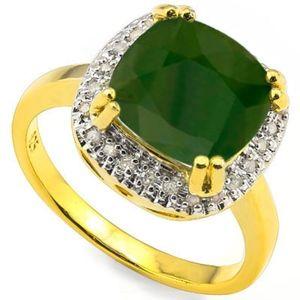Ring 1/3 Ct Emerald Created/Diamond/925 Silver